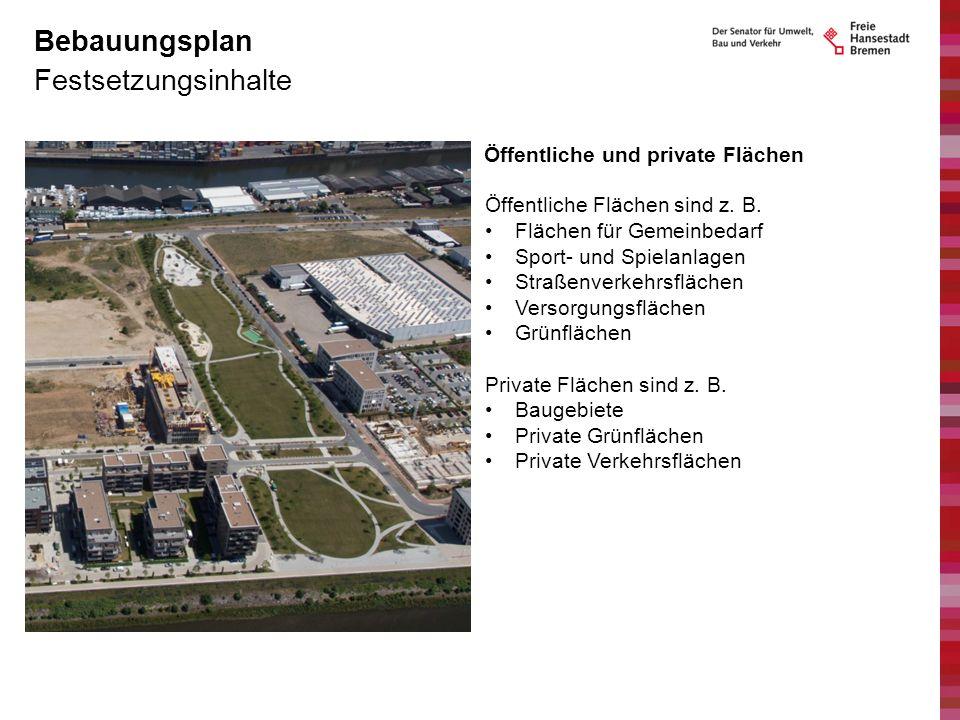 Bebauungsplan Festsetzungsinhalte Öffentliche und private Flächen