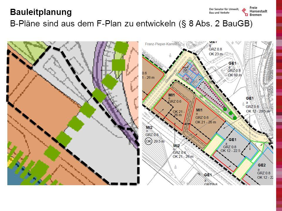 Bauleitplanung B-Pläne sind aus dem F-Plan zu entwickeln (§ 8 Abs. 2 BauGB)