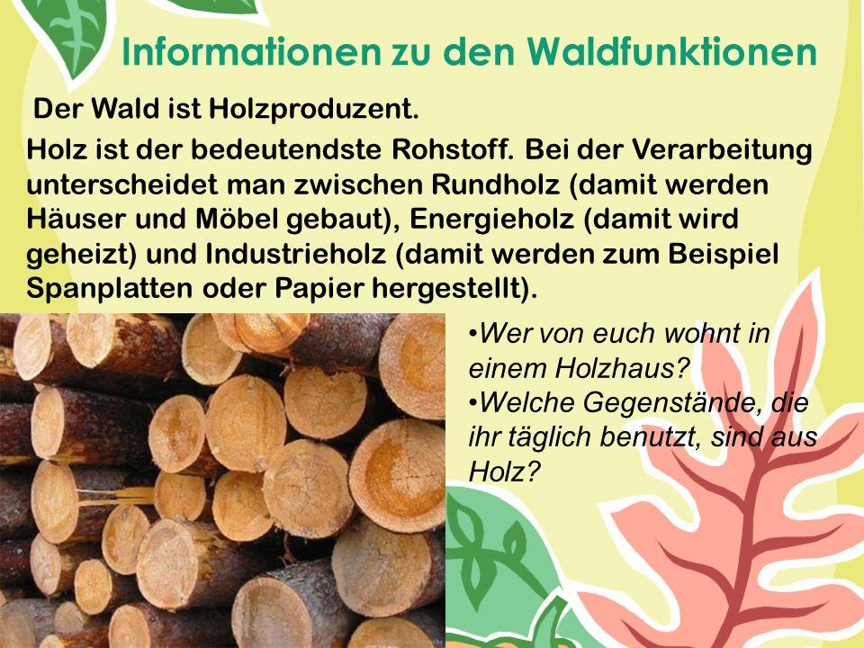 Informationen zu den Waldfunktionen