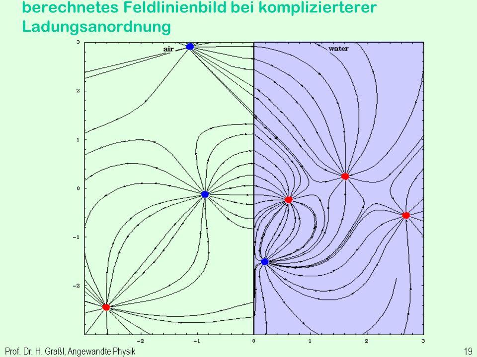 berechnetes Feldlinienbild bei komplizierterer Ladungsanordnung