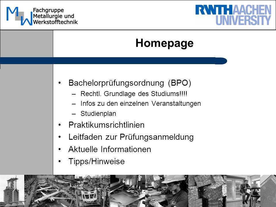 Homepage Bachelorprüfungsordnung (BPO) Praktikumsrichtlinien