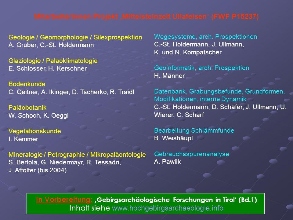 MitarbeiterInnen Projekt 'Mittelsteinzeit Ullafelsen' (FWF P15237)