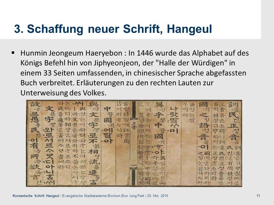 3. Schaffung neuer Schrift, Hangeul