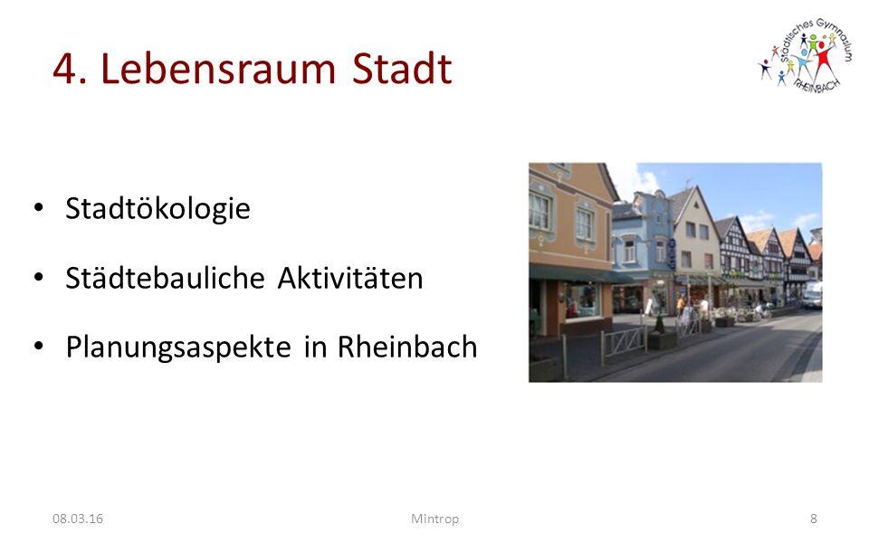 4. Lebensraum Stadt Stadtökologie Städtebauliche Aktivitäten
