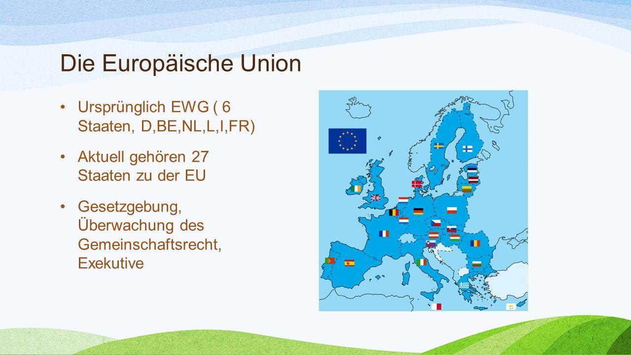Die Europäische Union Ursprünglich EWG ( 6 Staaten, D,BE,NL,L,I,FR)