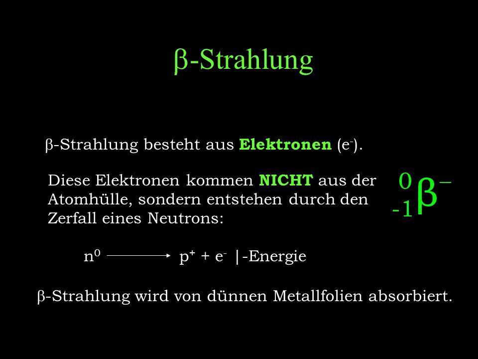 b-Strahlung b-Strahlung besteht aus Elektronen (e-).