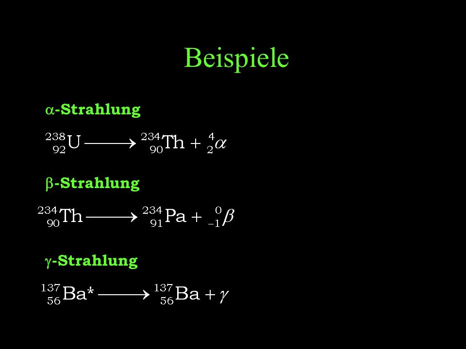 Beispiele a-Strahlung b-Strahlung g-Strahlung