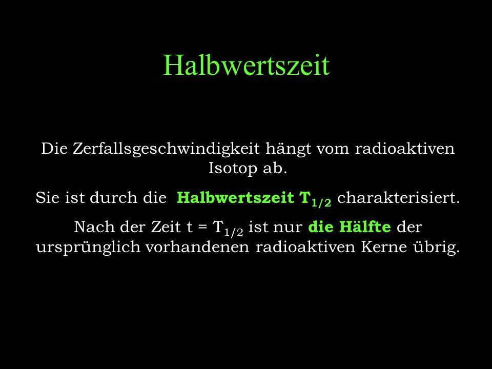 Halbwertszeit Die Zerfallsgeschwindigkeit hängt vom radioaktiven Isotop ab. Sie ist durch die Halbwertszeit T1/2 charakterisiert.