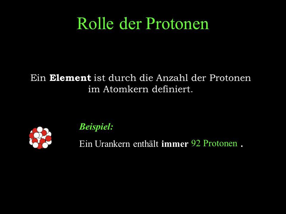 Ein Element ist durch die Anzahl der Protonen im Atomkern definiert.