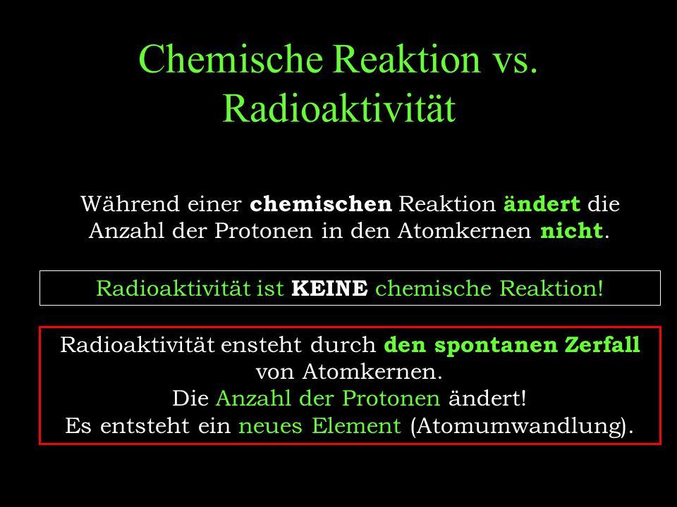 Chemische Reaktion vs. Radioaktivität