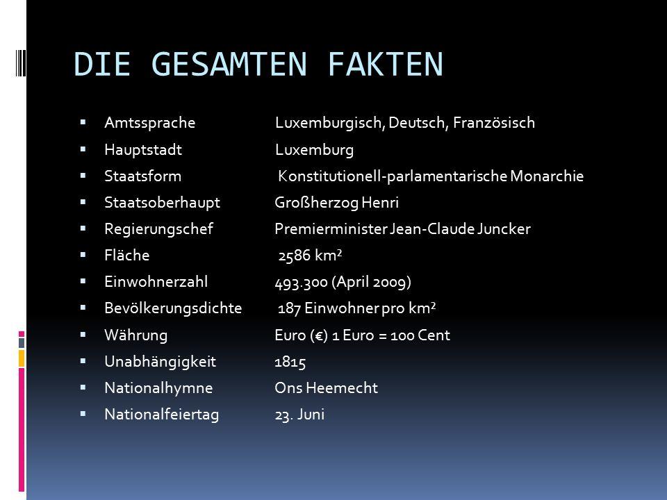 DIE GESAMTEN FAKTEN Amtssprache Luxemburgisch, Deutsch, Französisch