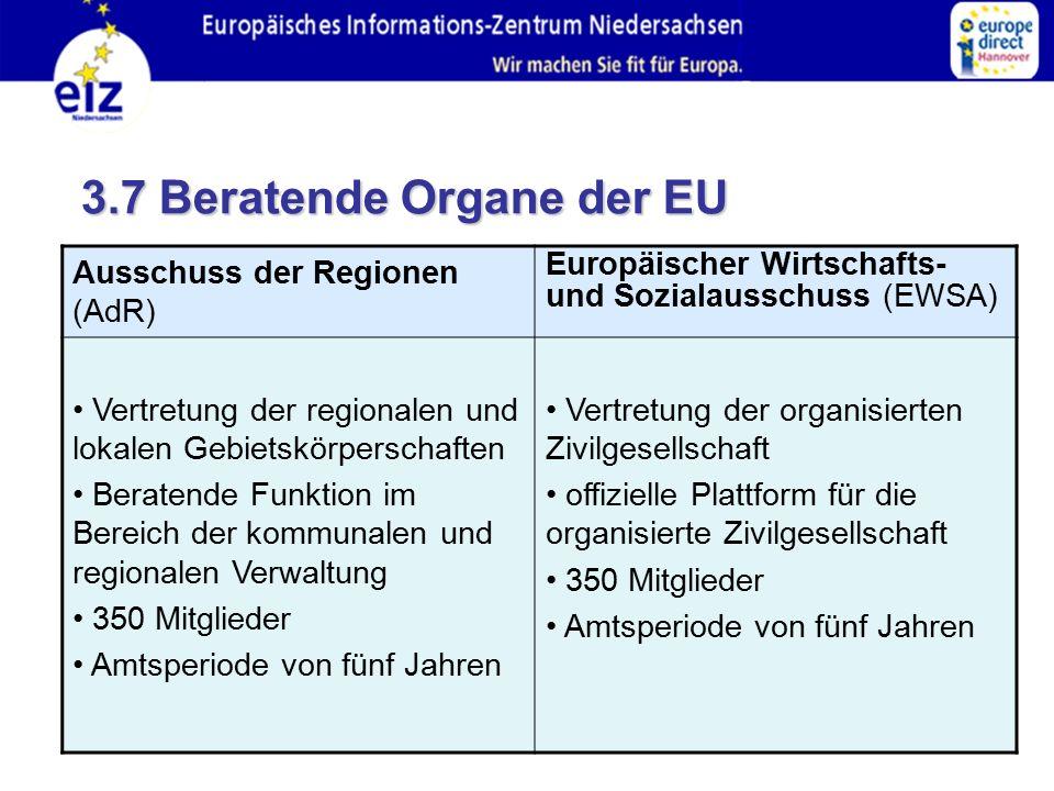 3.7 Beratende Organe der EU