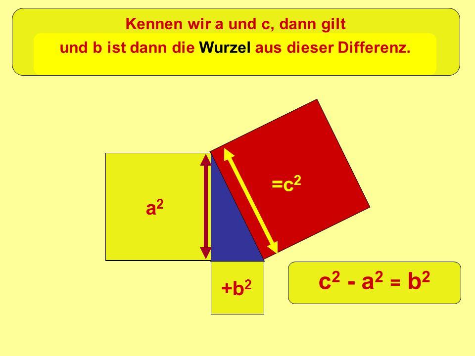 c2 - a2 = b2 =c2 a2 +b2 Kennen wir a und c, dann gilt