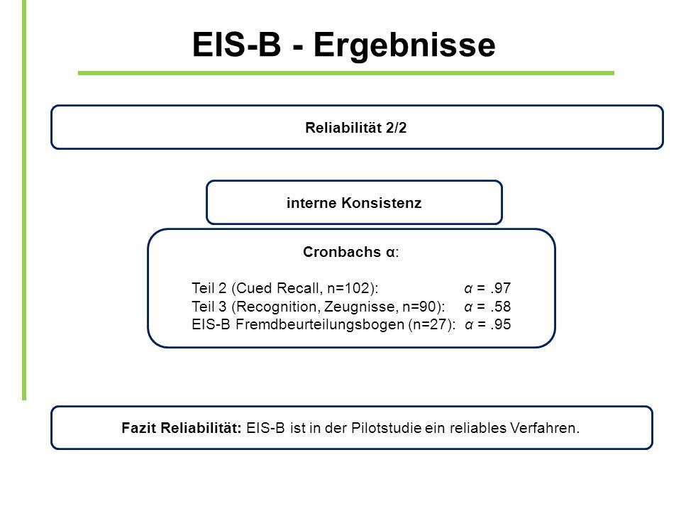 EIS-B - Ergebnisse Reliabilität 2/2 interne Konsistenz Cronbachs α: