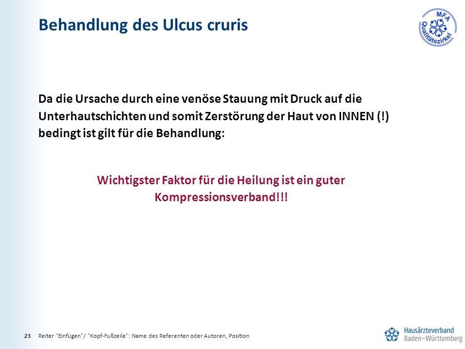 Behandlung des Ulcus cruris
