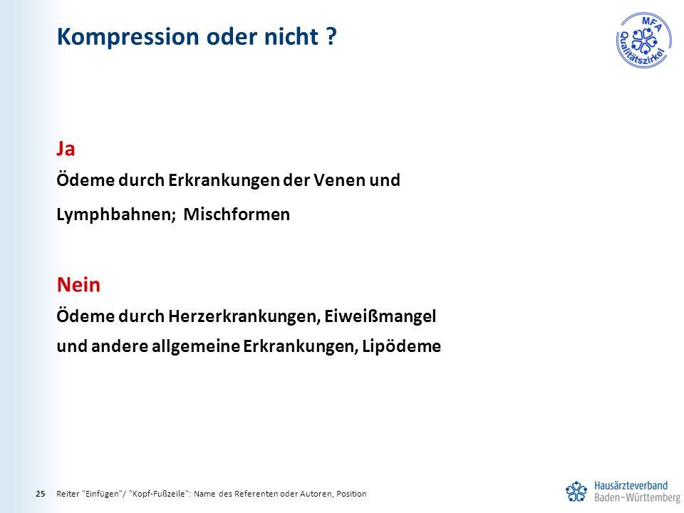 Kompression oder nicht