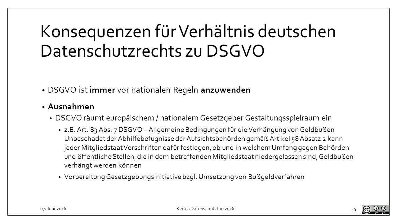 Konsequenzen für Verhältnis deutschen Datenschutzrechts zu DSGVO