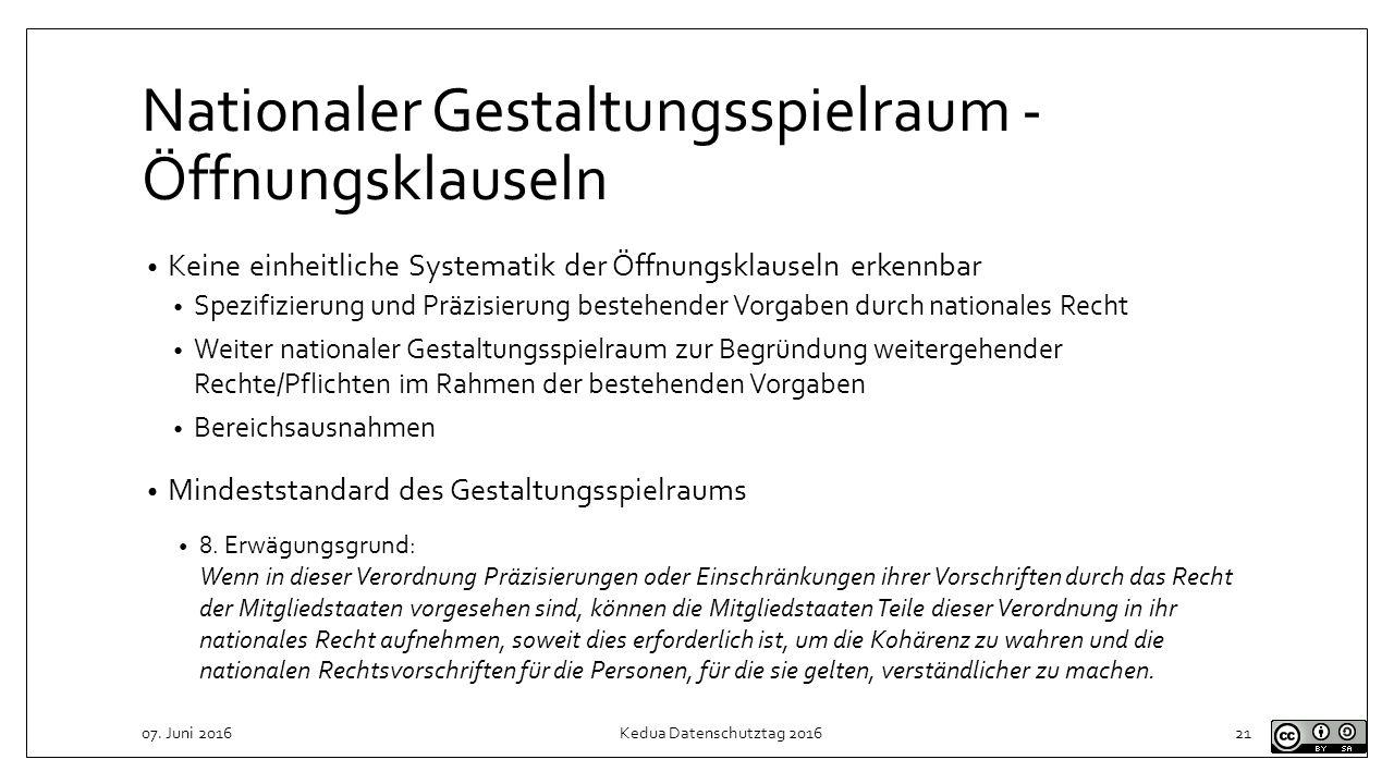 Nationaler Gestaltungsspielraum - Öffnungsklauseln