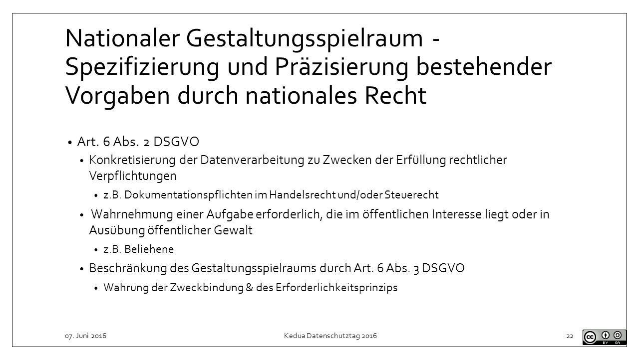 Nationaler Gestaltungsspielraum - Spezifizierung und Präzisierung bestehender Vorgaben durch nationales Recht