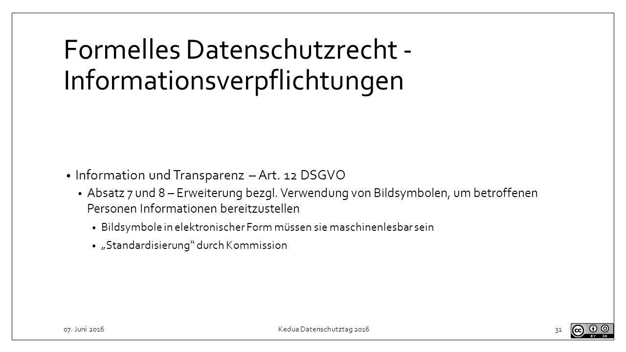 Formelles Datenschutzrecht - Informationsverpflichtungen