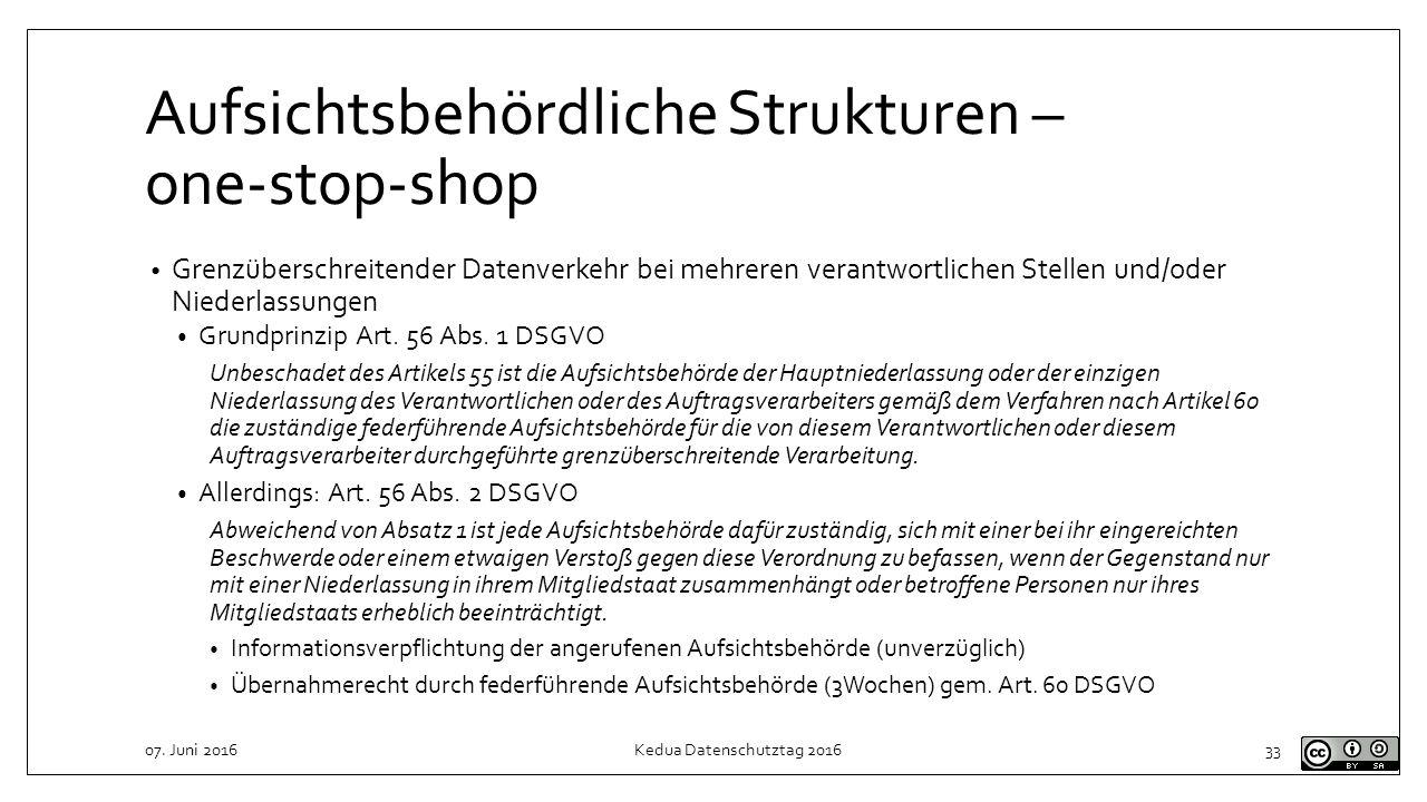 Aufsichtsbehördliche Strukturen – one-stop-shop