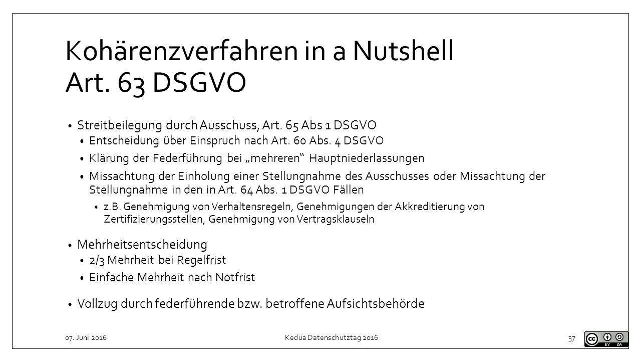 Kohärenzverfahren in a Nutshell Art. 63 DSGVO