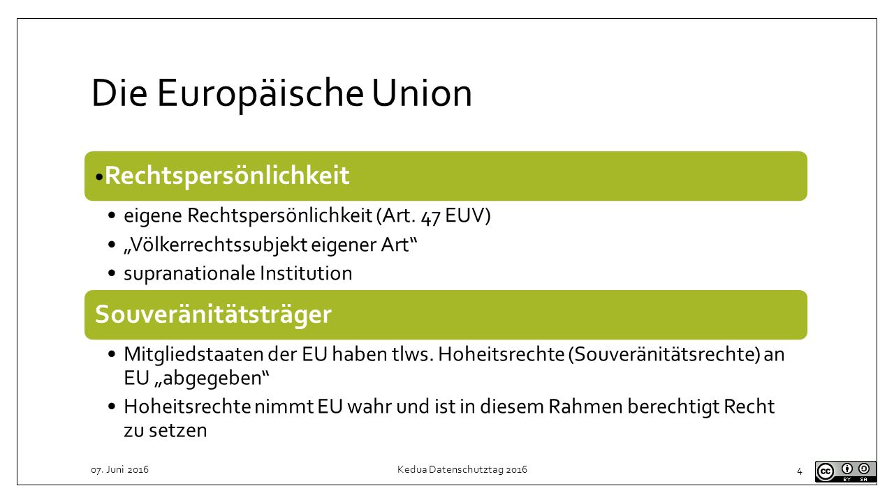 Die Europäische Union Rechtspersönlichkeit Souveränitätsträger