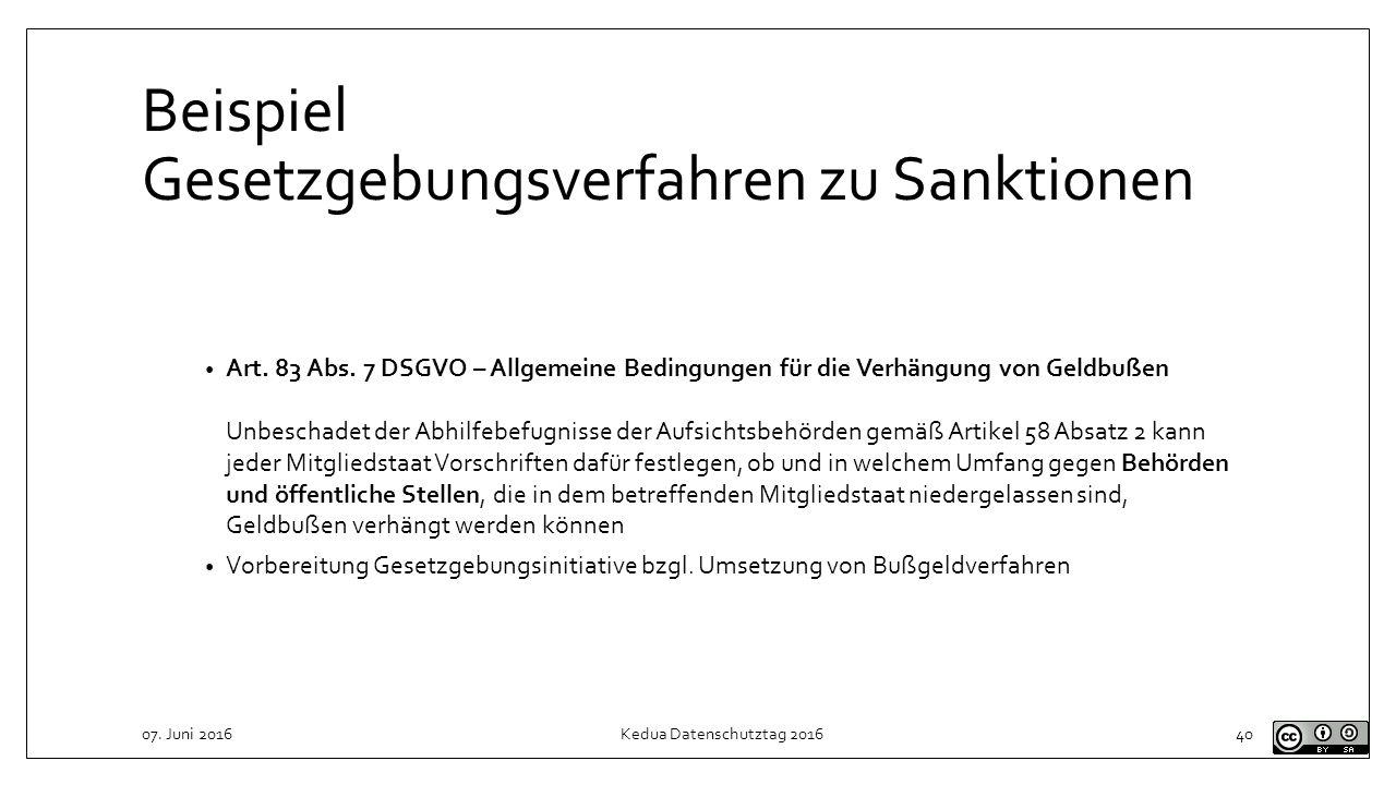 Beispiel Gesetzgebungsverfahren zu Sanktionen