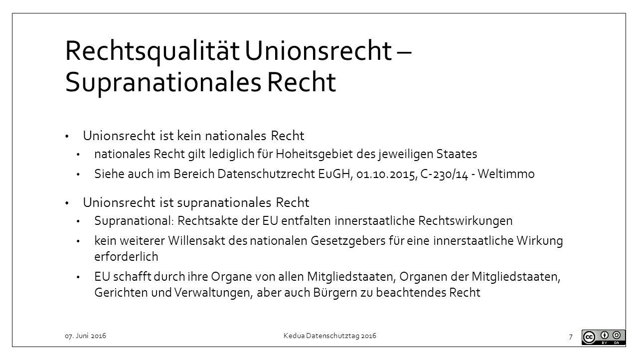 Rechtsqualität Unionsrecht – Supranationales Recht