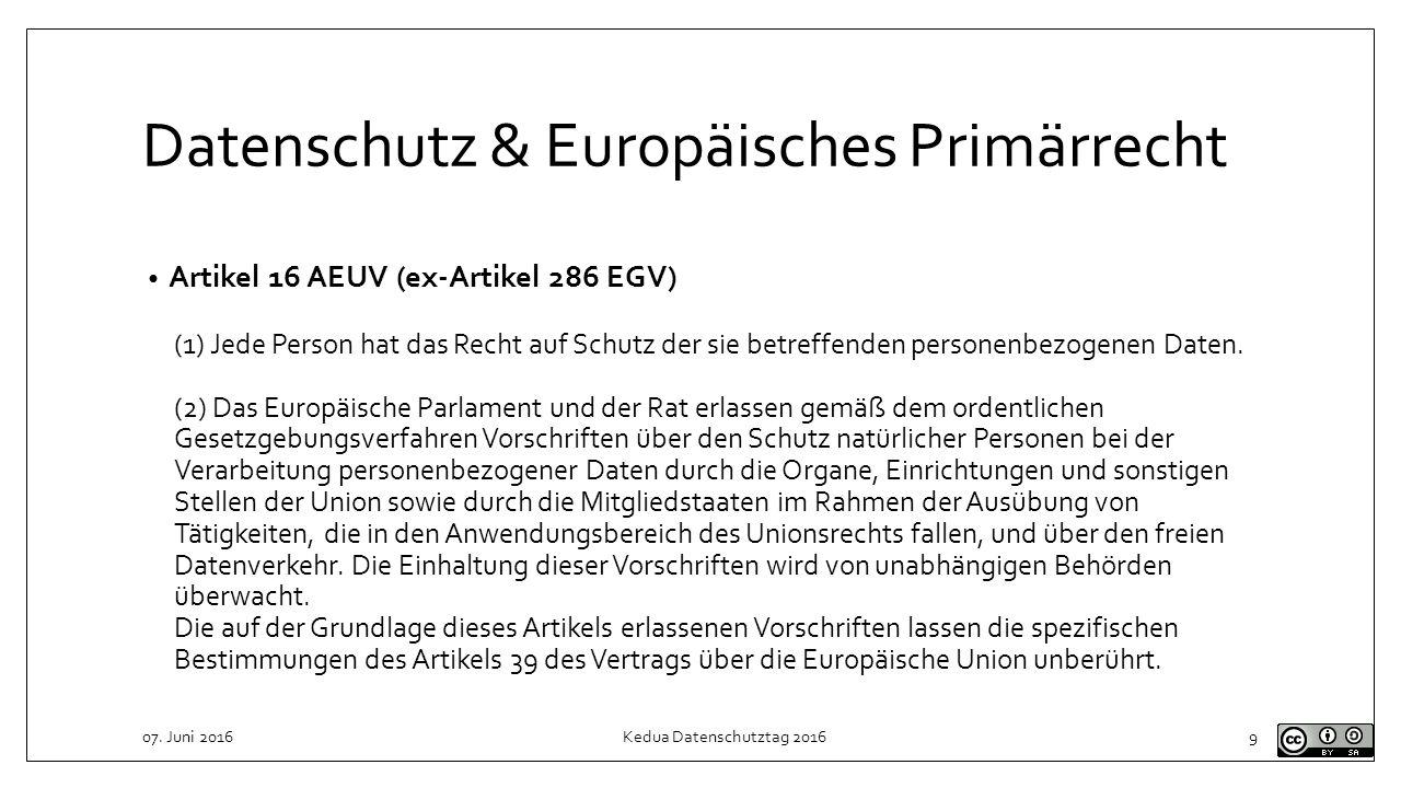 Datenschutz & Europäisches Primärrecht