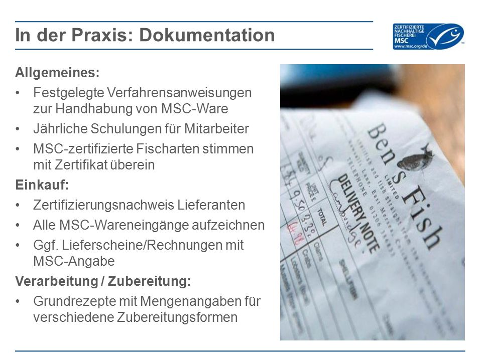 In der Praxis: Dokumentation