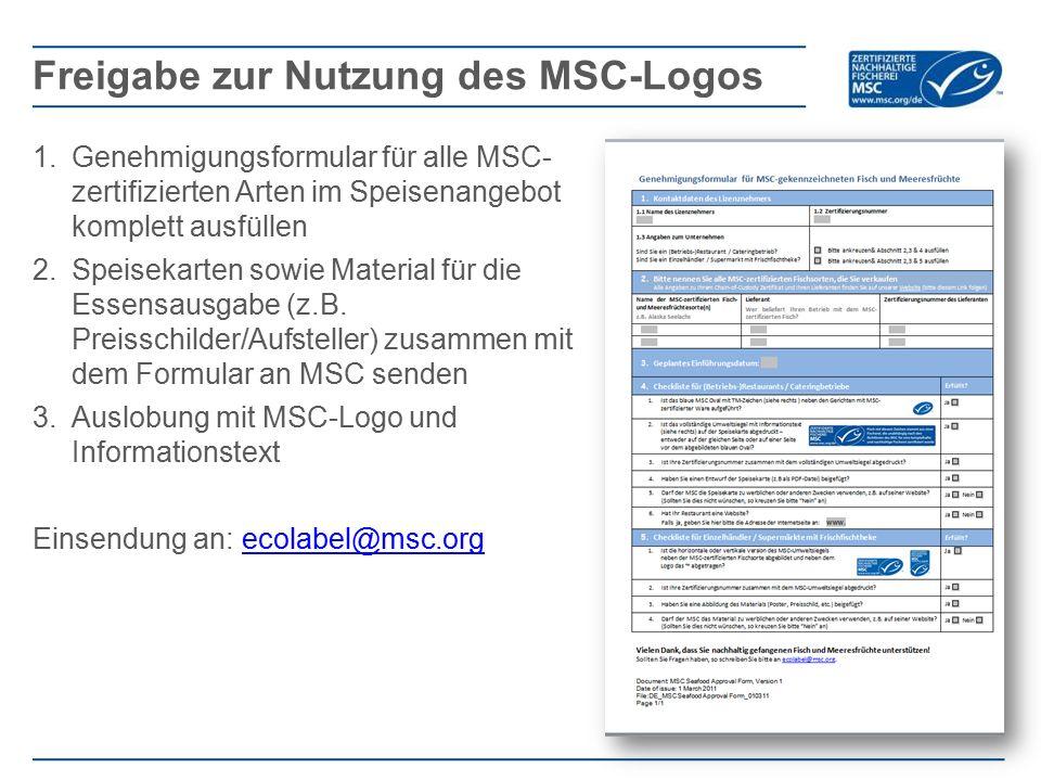 Freigabe zur Nutzung des MSC-Logos