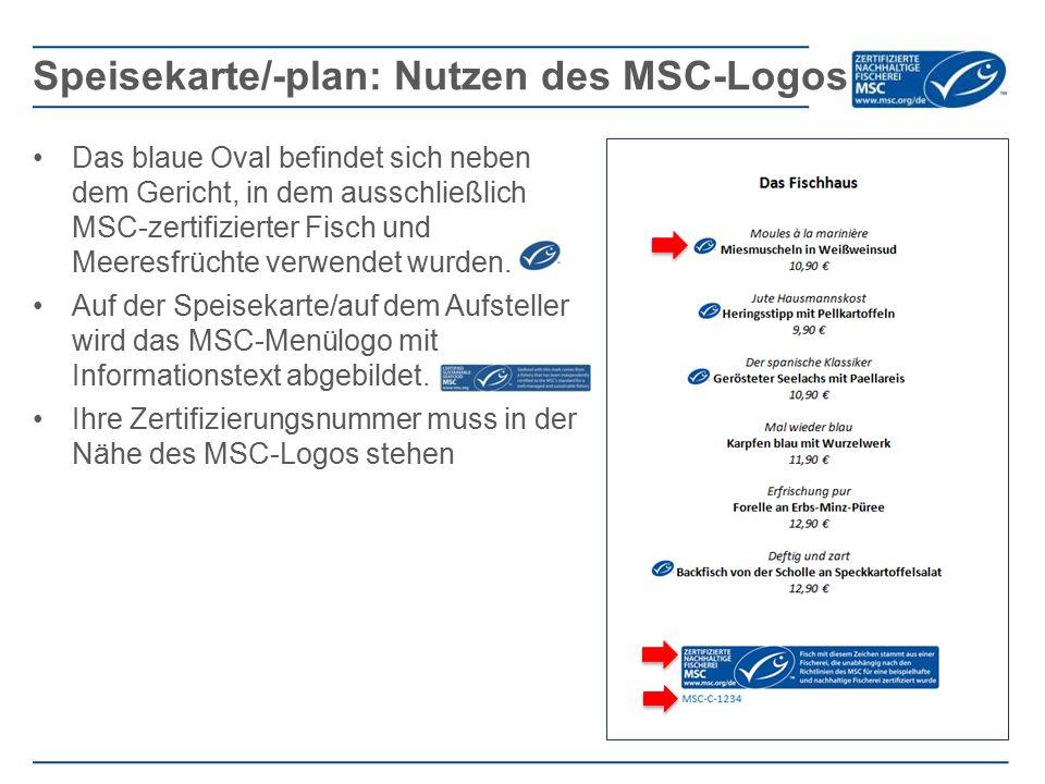 Speisekarte/-plan: Nutzen des MSC-Logos