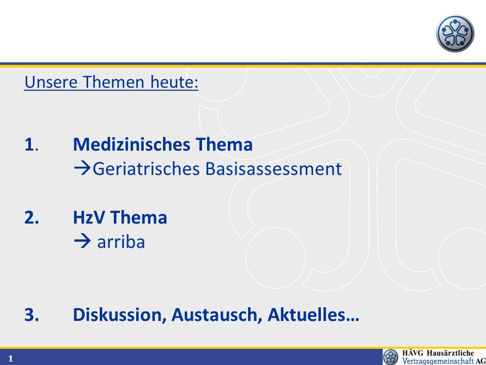 Geriatrisches Basisassessment HzV Thema  arriba
