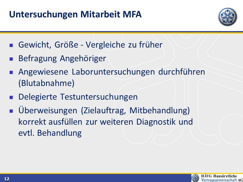 Untersuchungen Mitarbeit MFA