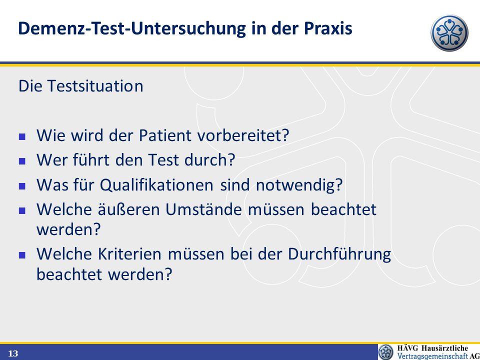 Demenz-Test-Untersuchung in der Praxis