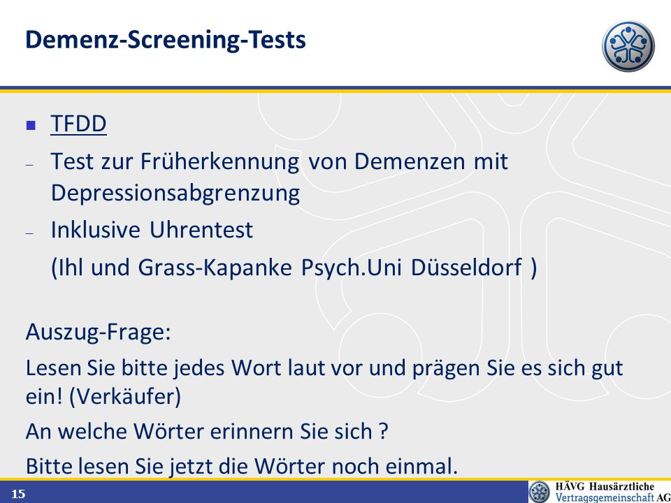 Demenz-Screening-Tests