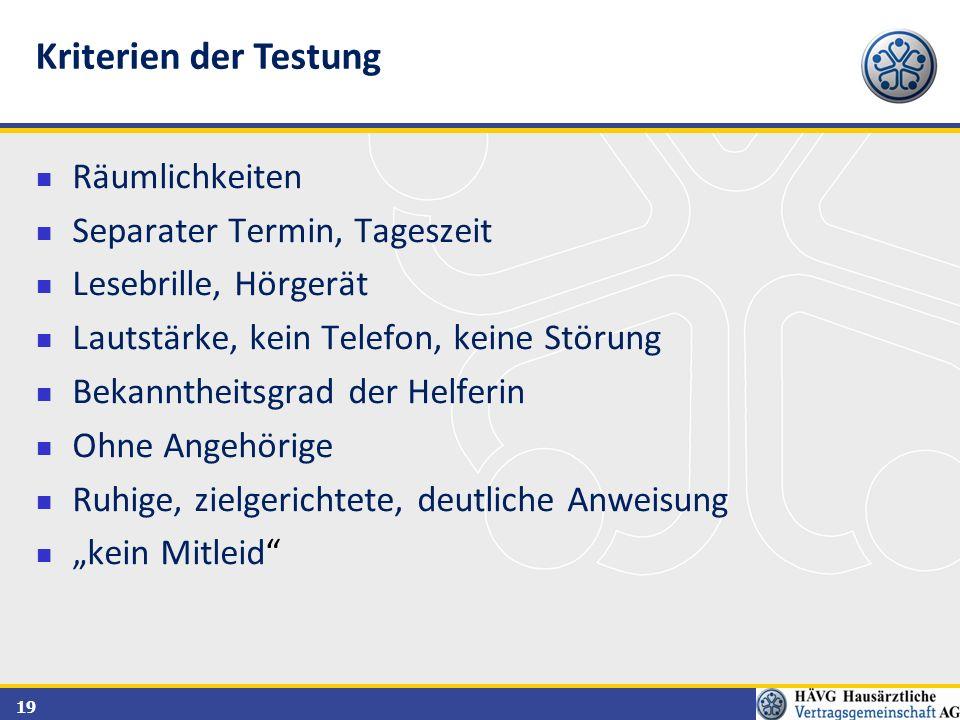 Kriterien der Testung Räumlichkeiten Separater Termin, Tageszeit