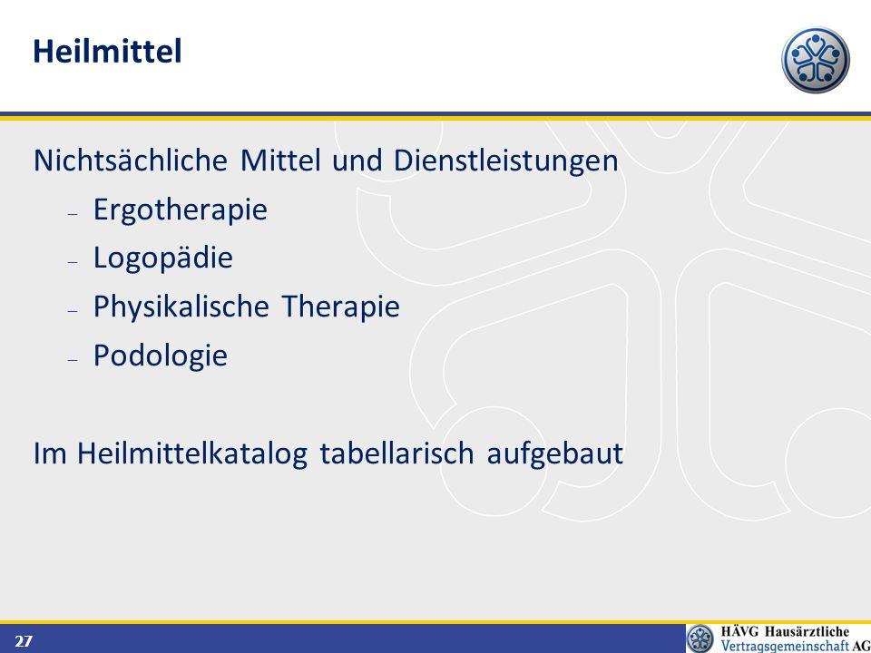 Heilmittel Nichtsächliche Mittel und Dienstleistungen Ergotherapie