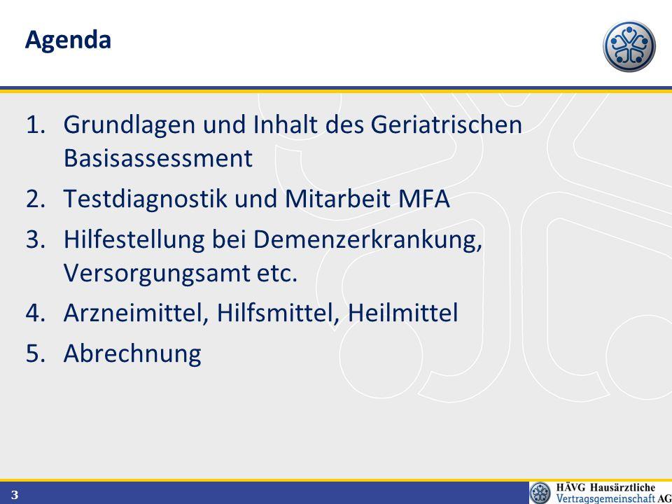Agenda Grundlagen und Inhalt des Geriatrischen Basisassessment. Testdiagnostik und Mitarbeit MFA.
