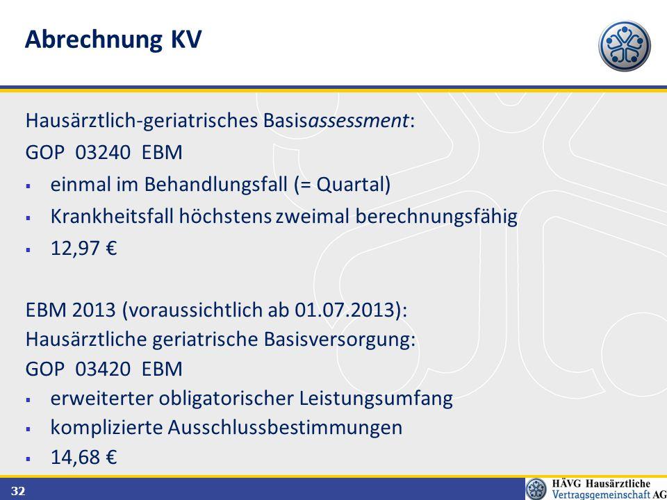 Abrechnung KV Hausärztlich-geriatrisches Basisassessment: