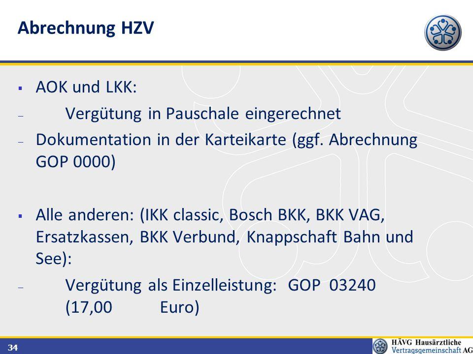 Abrechnung HZV AOK und LKK: Vergütung in Pauschale eingerechnet