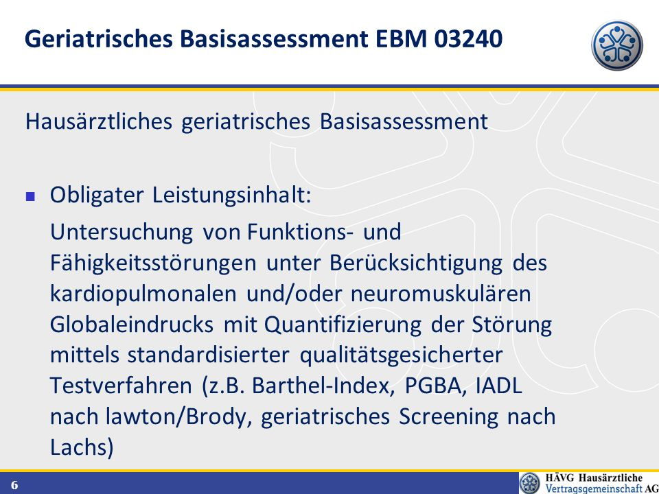 Geriatrisches Basisassessment EBM 03240