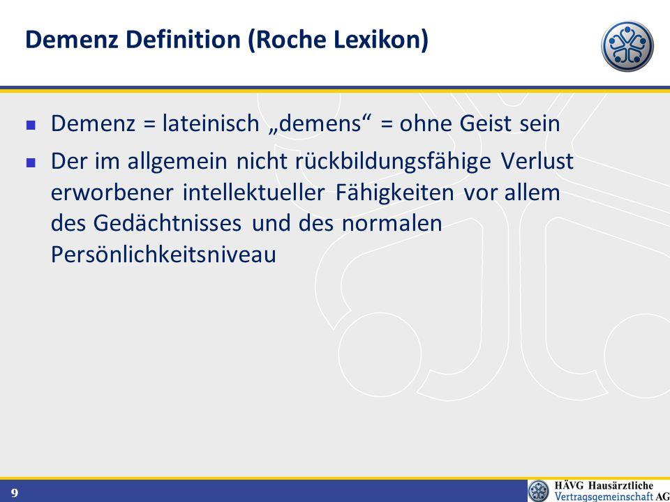 Demenz Definition (Roche Lexikon)