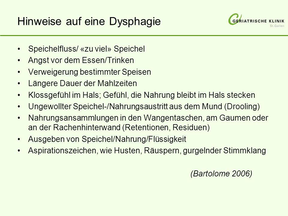 Hinweise auf eine Dysphagie