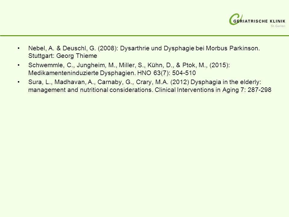 Nebel, A. & Deuschl, G. (2008): Dysarthrie und Dysphagie bei Morbus Parkinson. Stuttgart: Georg Thieme
