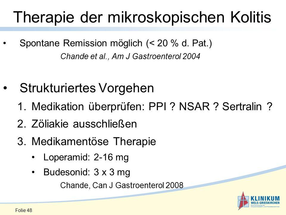 Therapie der mikroskopischen Kolitis