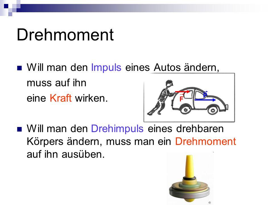 Drehmoment Will man den Impuls eines Autos ändern, muss auf ihn