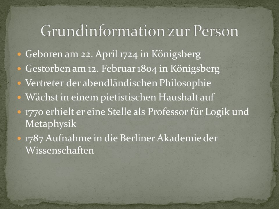 Grundinformation zur Person