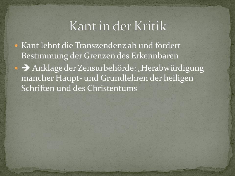 Kant in der Kritik Kant lehnt die Transzendenz ab und fordert Bestimmung der Grenzen des Erkennbaren.